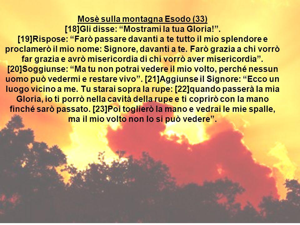 Mosè sulla montagna Esodo (33) [18]Gli disse: Mostrami la tua Gloria